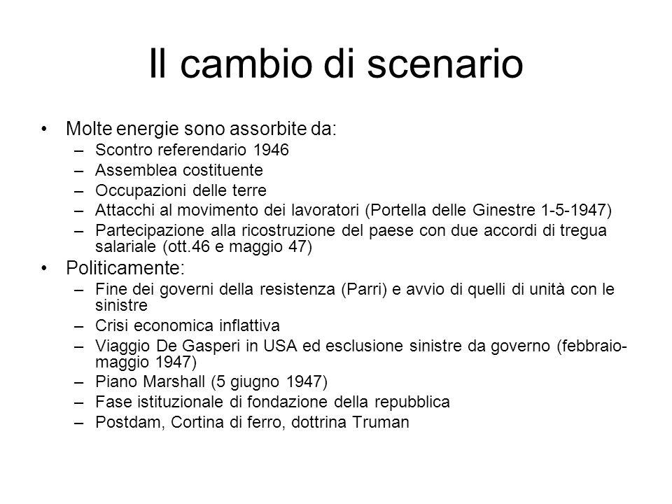Il cambio di scenario Molte energie sono assorbite da: –Scontro referendario 1946 –Assemblea costituente –Occupazioni delle terre –Attacchi al movimen