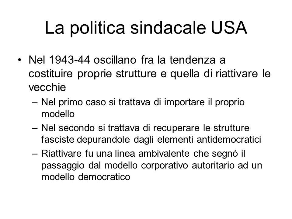 La politica sindacale USA Nel 1943-44 oscillano fra la tendenza a costituire proprie strutture e quella di riattivare le vecchie –Nel primo caso si trattava di importare il proprio modello –Nel secondo si trattava di recuperare le strutture fasciste depurandole dagli elementi antidemocratici –Riattivare fu una linea ambivalente che segnò il passaggio dal modello corporativo autoritario ad un modello democratico