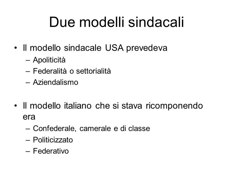 Due modelli sindacali Il modello sindacale USA prevedeva –Apoliticità –Federalità o settorialità –Aziendalismo Il modello italiano che si stava ricomponendo era –Confederale, camerale e di classe –Politicizzato –Federativo