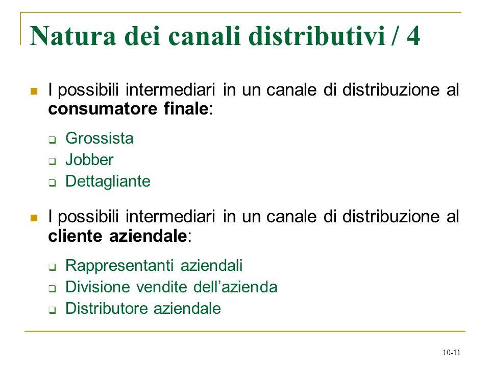 10-11 Natura dei canali distributivi / 4 I possibili intermediari in un canale di distribuzione al consumatore finale: Grossista Jobber Dettagliante I