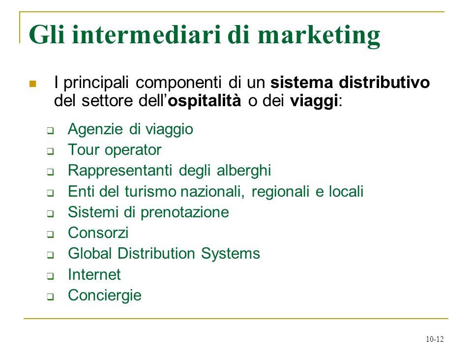 10-12 Gli intermediari di marketing I principali componenti di un sistema distributivo del settore dellospitalità o dei viaggi: Agenzie di viaggio Tou