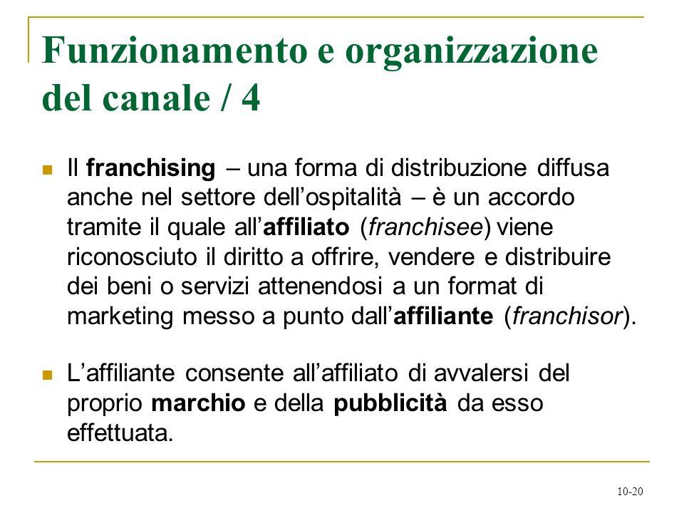 10-20 Funzionamento e organizzazione del canale / 4 Il franchising – una forma di distribuzione diffusa anche nel settore dellospitalità – è un accord