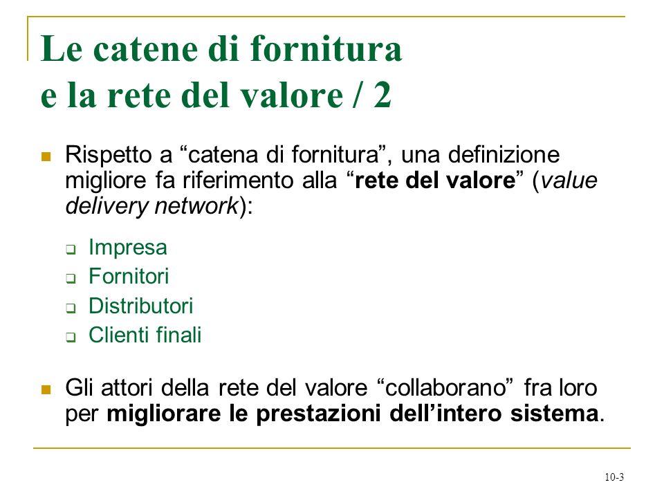 10-3 Le catene di fornitura e la rete del valore / 2 Rispetto a catena di fornitura, una definizione migliore fa riferimento alla rete del valore (val