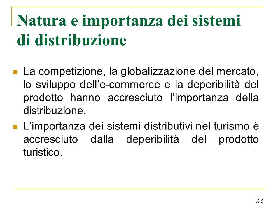 10-5 Natura e importanza dei sistemi di distribuzione La competizione, la globalizzazione del mercato, lo sviluppo delle-commerce e la deperibilità de