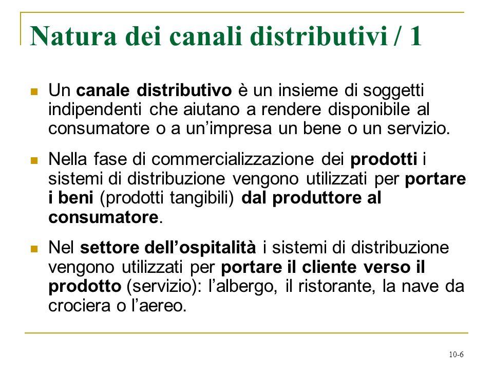 10-6 Natura dei canali distributivi / 1 Un canale distributivo è un insieme di soggetti indipendenti che aiutano a rendere disponibile al consumatore