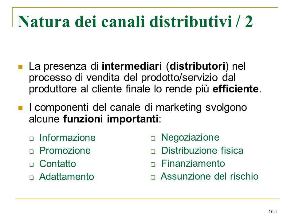 10-7 Natura dei canali distributivi / 2 La presenza di intermediari (distributori) nel processo di vendita del prodotto/servizio dal produttore al cli