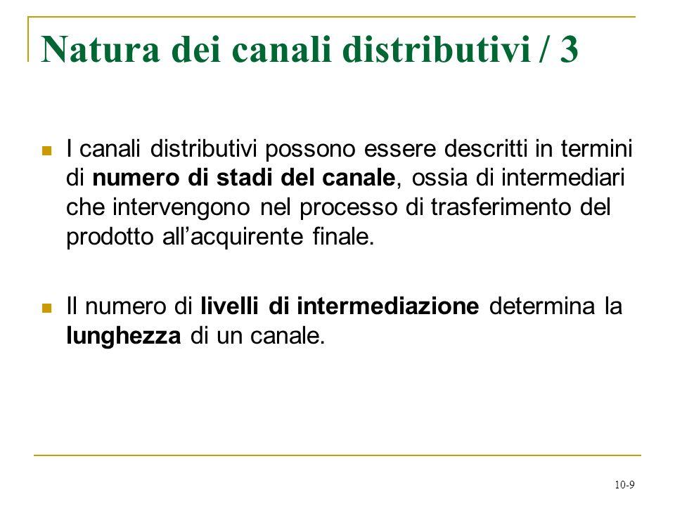 10-9 Natura dei canali distributivi / 3 I canali distributivi possono essere descritti in termini di numero di stadi del canale, ossia di intermediari