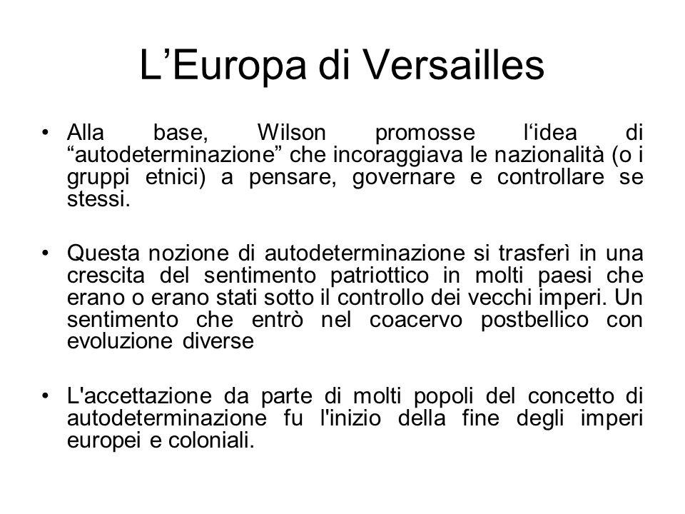 LEuropa di Versailles Alla base, Wilson promosse lidea di autodeterminazione che incoraggiava le nazionalità (o i gruppi etnici) a pensare, governare e controllare se stessi.