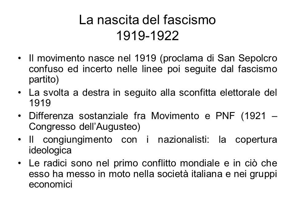 La nascita del fascismo 1919-1922 Il movimento nasce nel 1919 (proclama di San Sepolcro confuso ed incerto nelle linee poi seguite dal fascismo partito) La svolta a destra in seguito alla sconfitta elettorale del 1919 Differenza sostanziale fra Movimento e PNF (1921 – Congresso dellAugusteo) Il congiungimento con i nazionalisti: la copertura ideologica Le radici sono nel primo conflitto mondiale e in ciò che esso ha messo in moto nella società italiana e nei gruppi economici