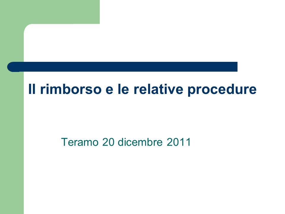 Il rimborso e le relative procedure Teramo 20 dicembre 2011