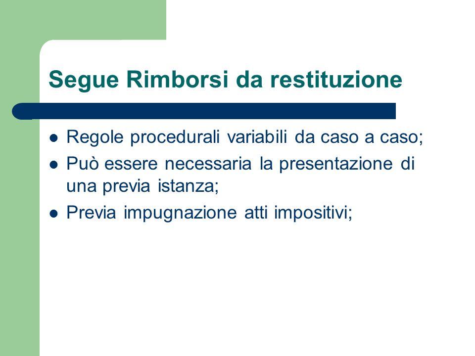 Rimborsi dufficio 3) In materia di IVA tale obbligo è previsto dallart.