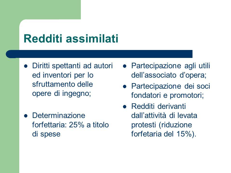 Redditi assimilati Diritti spettanti ad autori ed inventori per lo sfruttamento delle opere di ingegno; Determinazione forfettaria: 25% a titolo di sp