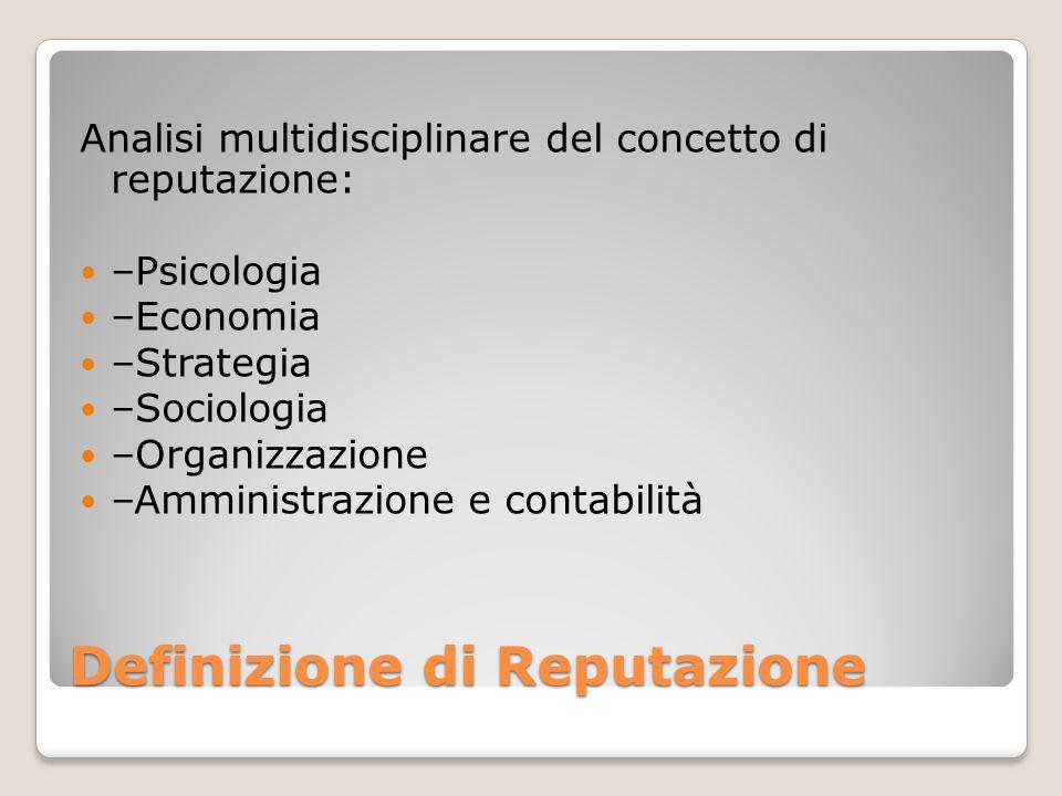 Definizione di Reputazione Analisi multidisciplinare del concetto di reputazione: –Psicologia –Economia –Strategia –Sociologia –Organizzazione –Ammini