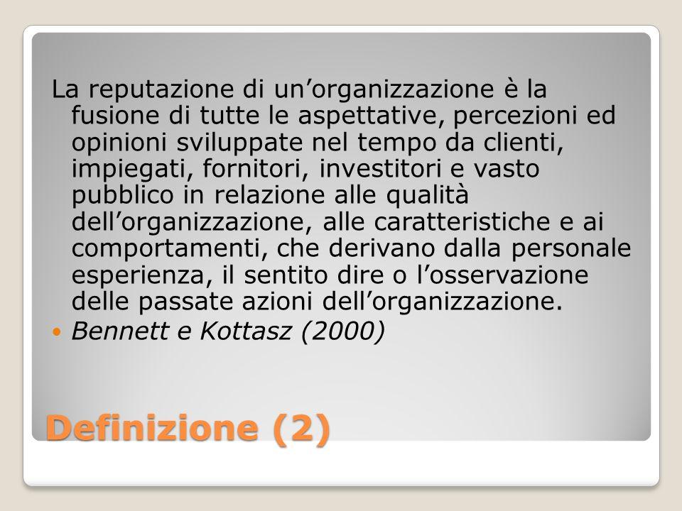 Definizione (2) La reputazione di unorganizzazione è la fusione di tutte le aspettative, percezioni ed opinioni sviluppate nel tempo da clienti, impie