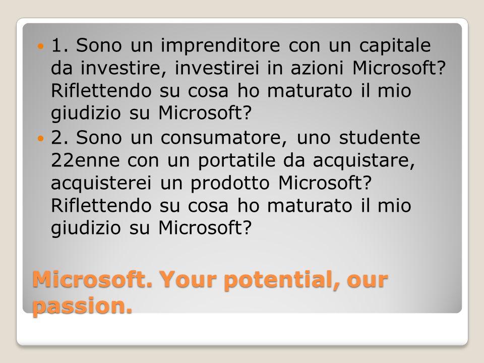 Microsoft. Your potential, our passion. 1. Sono un imprenditore con un capitale da investire, investirei in azioni Microsoft? Riflettendo su cosa ho m