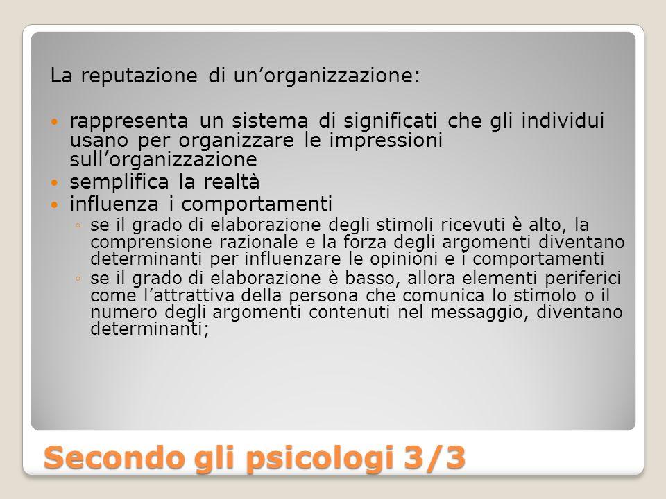 La reputazione di unorganizzazione: rappresenta un sistema di significati che gli individui usano per organizzare le impressioni sullorganizzazione se