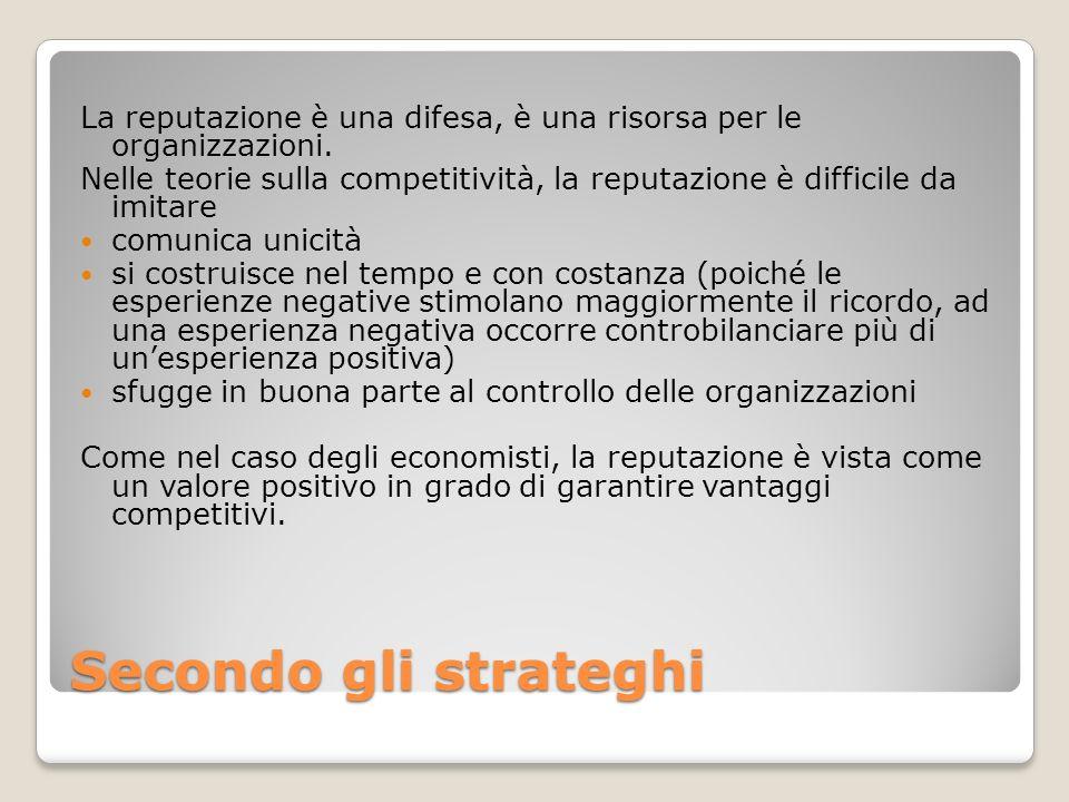 Secondo gli strateghi La reputazione è una difesa, è una risorsa per le organizzazioni. Nelle teorie sulla competitività, la reputazione è difficile d