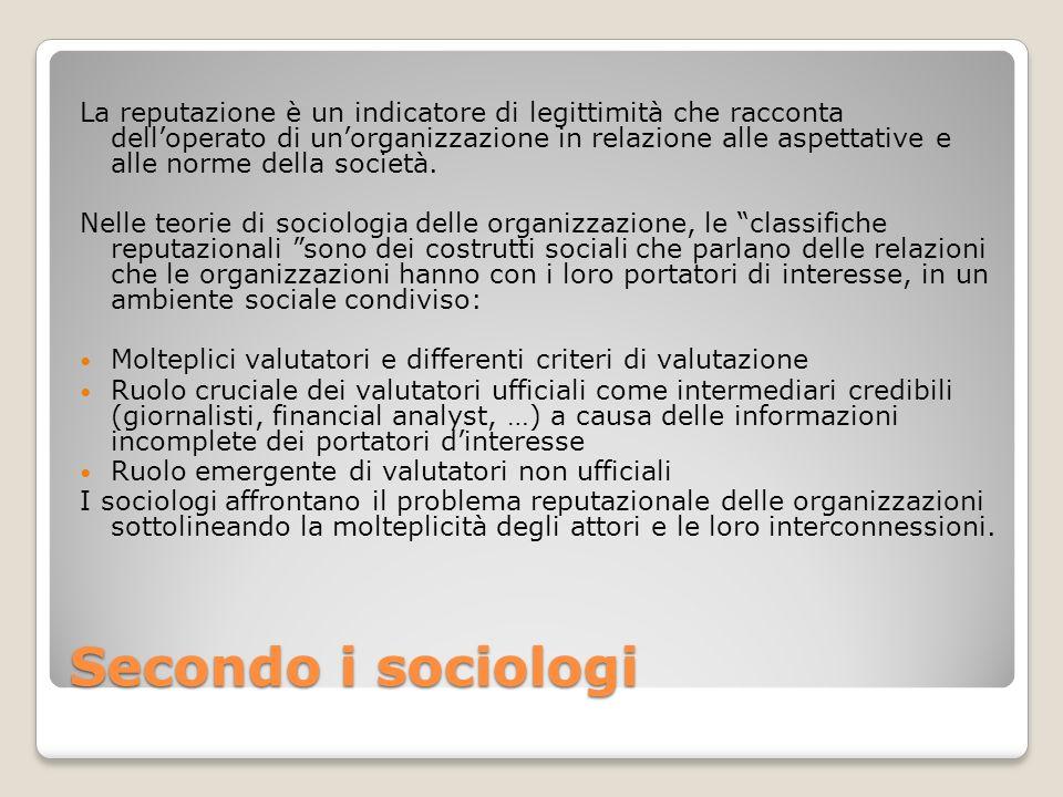 Secondo i sociologi La reputazione è un indicatore di legittimità che racconta delloperato di unorganizzazione in relazione alle aspettative e alle no