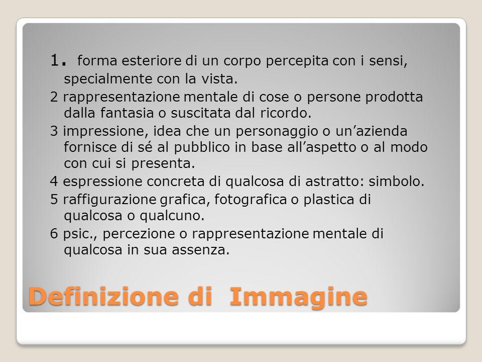 Definizione di Immagine 1. forma esteriore di un corpo percepita con i sensi, specialmente con la vista. 2 rappresentazione mentale di cose o persone