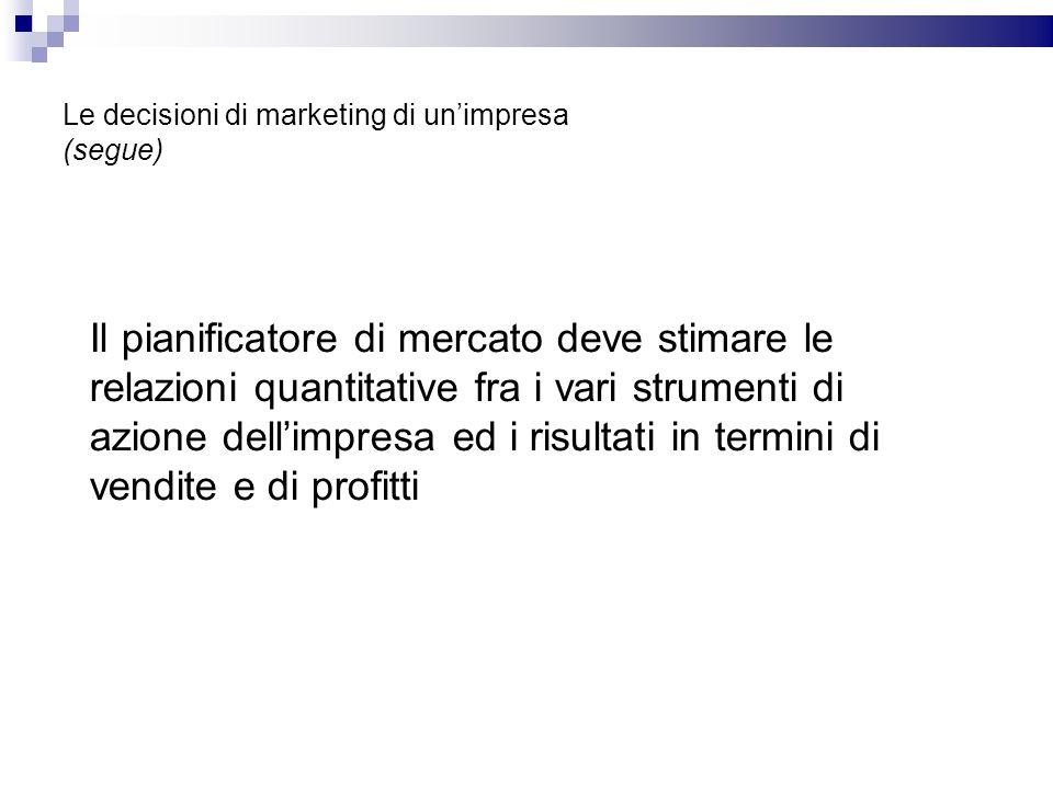 Le decisioni di marketing di unimpresa (segue) Il pianificatore di mercato deve stimare le relazioni quantitative fra i vari strumenti di azione delli