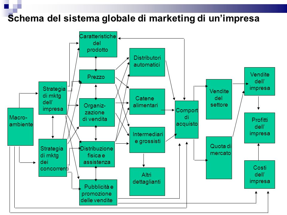 Schema del sistema globale di marketing di unimpresa Macro- ambiente Strategia di mktg dell impresa Strategia di mktg dei concorrenti Caratteristiche