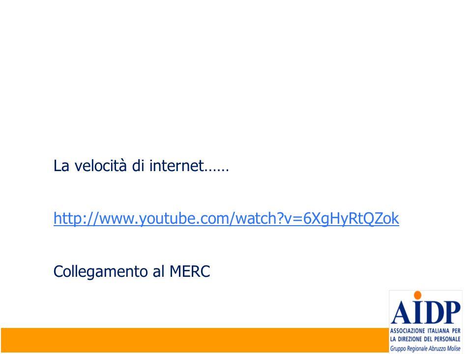 La velocità di internet…… http://www.youtube.com/watch?v=6XgHyRtQZok Collegamento al MERC