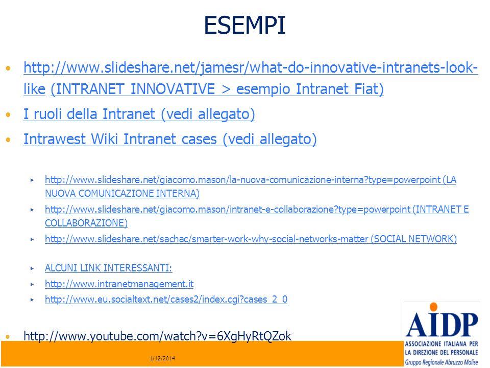 http://www.slideshare.net/jamesr/what-do-innovative-intranets-look- like (INTRANET INNOVATIVE > esempio Intranet Fiat) http://www.slideshare.net/james