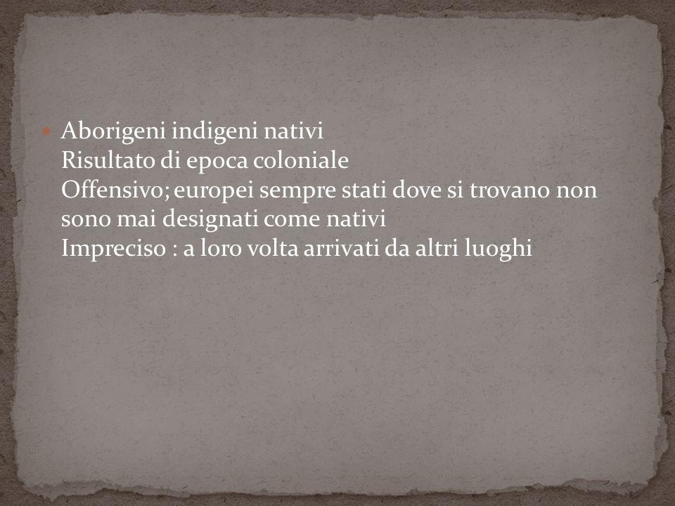 Aborigeni indigeni nativi Risultato di epoca coloniale Offensivo; europei sempre stati dove si trovano non sono mai designati come nativi Impreciso : a loro volta arrivati da altri luoghi