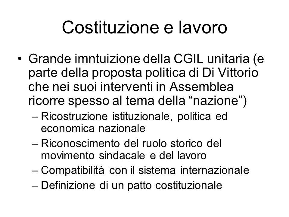 Costituzione e lavoro Grande imntuizione della CGIL unitaria (e parte della proposta politica di Di Vittorio che nei suoi interventi in Assemblea rico