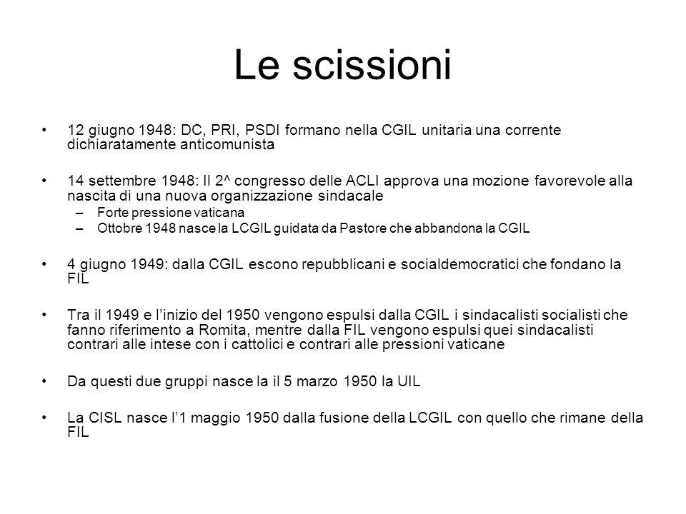 Le scissioni 12 giugno 1948: DC, PRI, PSDI formano nella CGIL unitaria una corrente dichiaratamente anticomunista 14 settembre 1948: Il 2^ congresso d