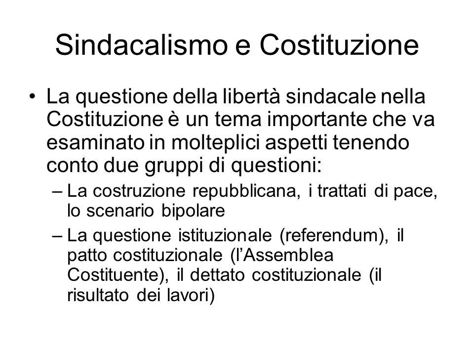 Sindacalismo e Costituzione La questione della libertà sindacale nella Costituzione è un tema importante che va esaminato in molteplici aspetti tenend