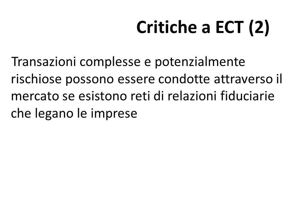 Critiche a ECT (2) Transazioni complesse e potenzialmente rischiose possono essere condotte attraverso il mercato se esistono reti di relazioni fiduciarie che legano le imprese