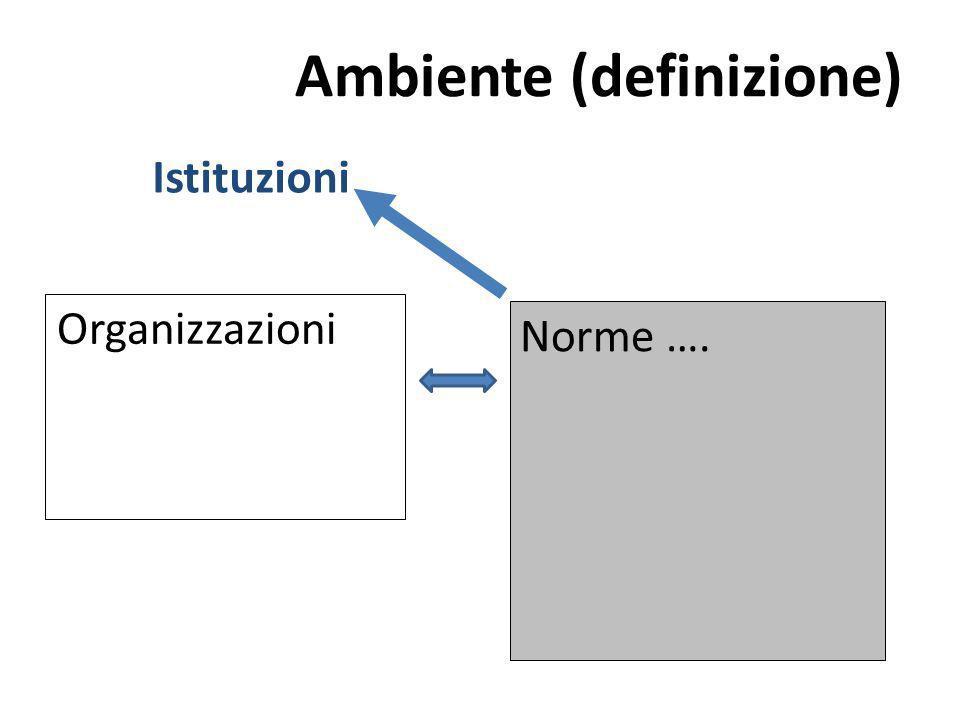 Ambiente (definizione) Organizzazioni Norme …. Istituzioni
