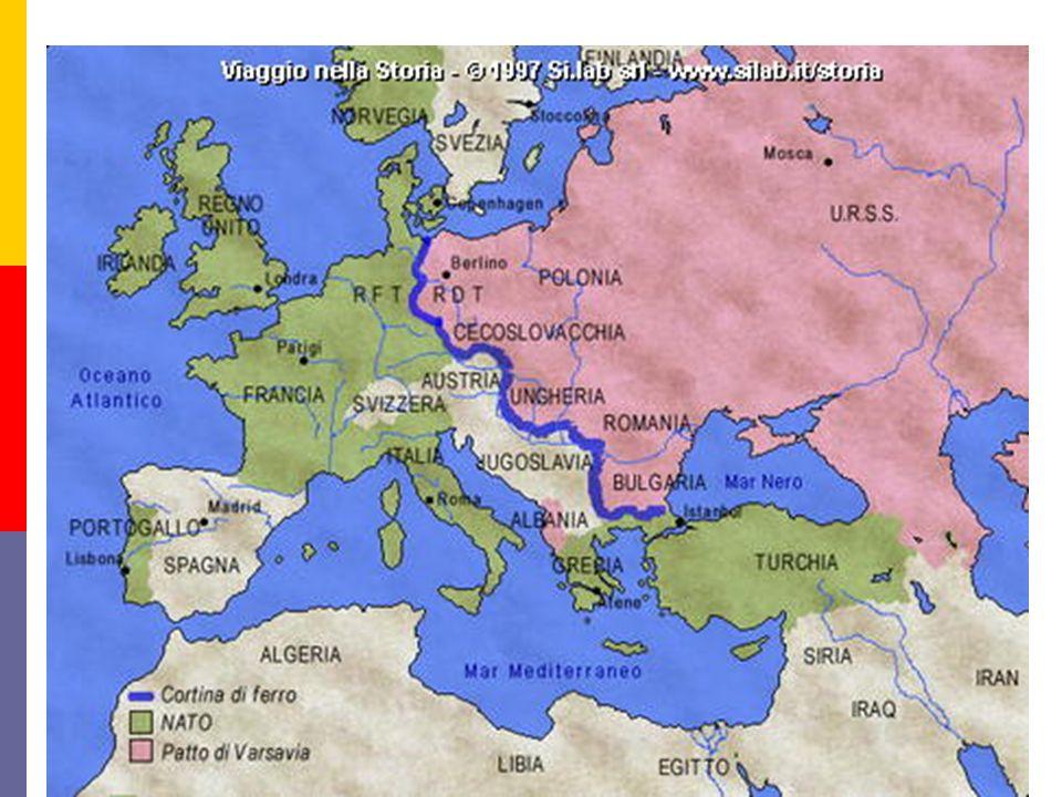 3) Patto Atlantico: 3) Patto Atlantico: 4 aprile 1949 istituì la NATO organismo politico militare per la difesa dei suoi aderenti.