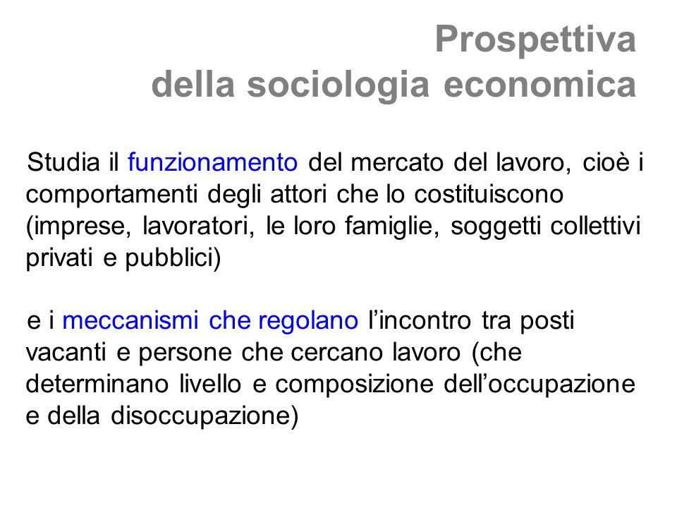 Prospettiva della sociologia economica Studia il funzionamento del mercato del lavoro, cioè i comportamenti degli attori che lo costituiscono (imprese