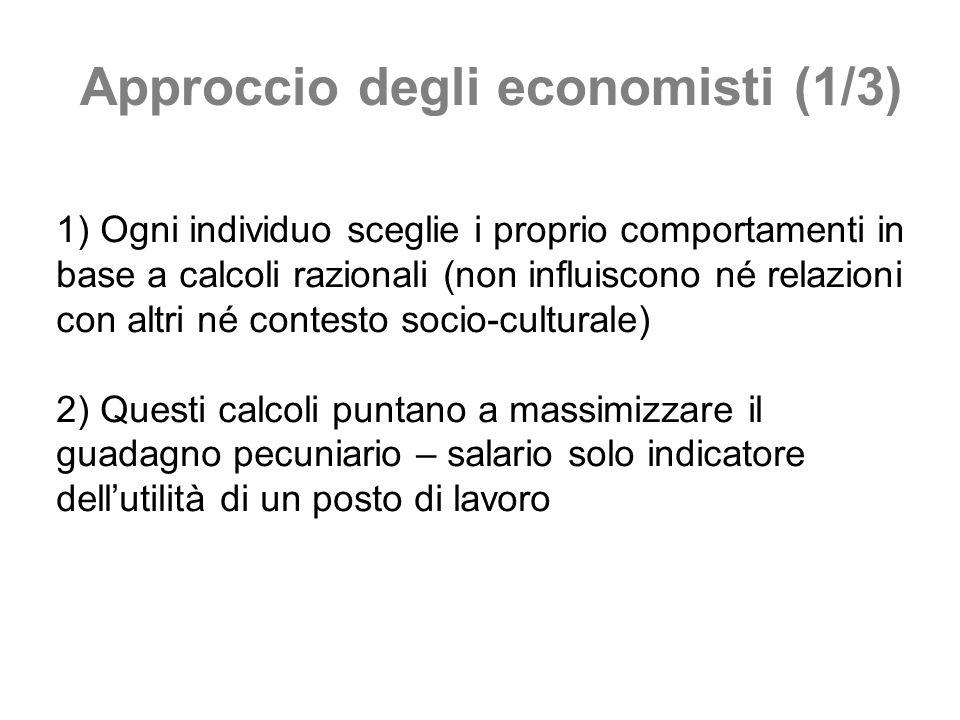 Approccio degli economisti (1/3) 1) Ogni individuo sceglie i proprio comportamenti in base a calcoli razionali (non influiscono né relazioni con altri