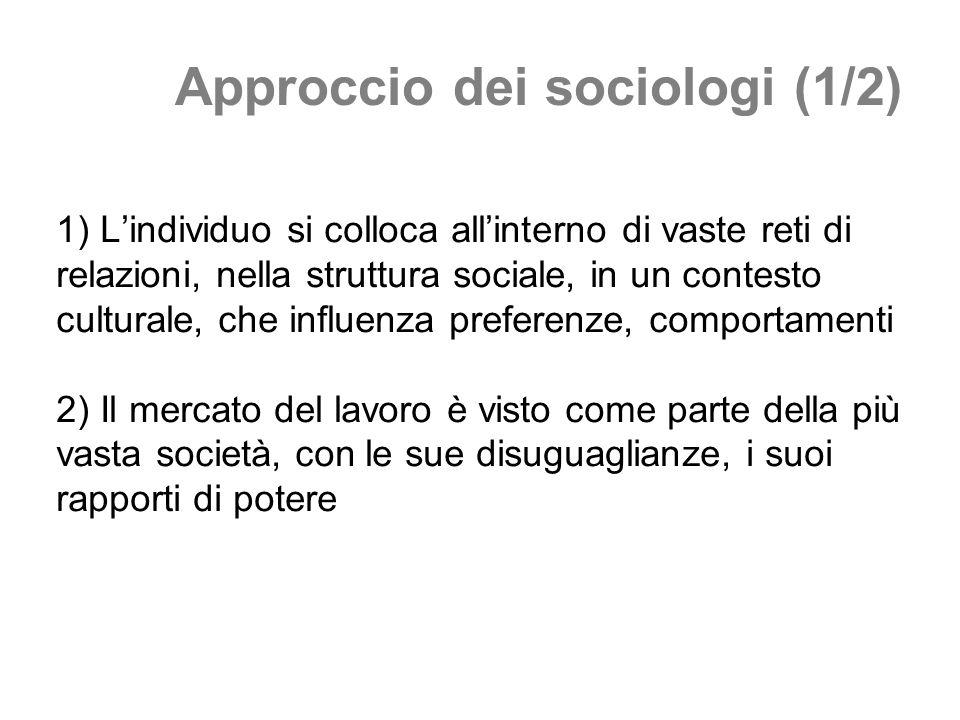 Approccio dei sociologi (1/2) 1) Lindividuo si colloca allinterno di vaste reti di relazioni, nella struttura sociale, in un contesto culturale, che i