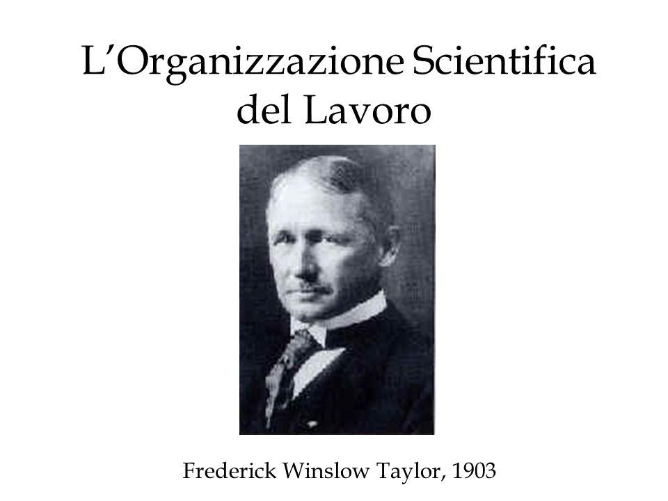 LOrganizzazione Scientifica del Lavoro Frederick Winslow Taylor, 1903