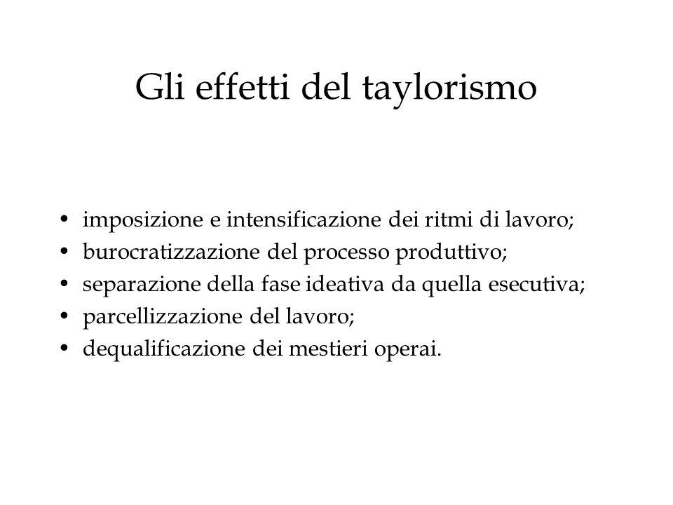Gli effetti del taylorismo imposizione e intensificazione dei ritmi di lavoro; burocratizzazione del processo produttivo; separazione della fase ideat