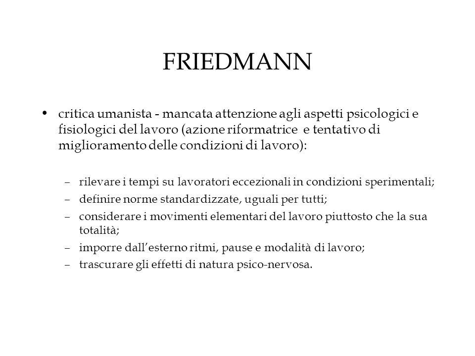 FRIEDMANN critica umanista - mancata attenzione agli aspetti psicologici e fisiologici del lavoro (azione riformatrice e tentativo di miglioramento de