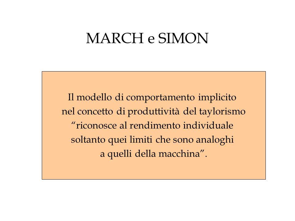 MARCH e SIMON Il modello di comportamento implicito nel concetto di produttività del taylorismo riconosce al rendimento individuale soltanto quei limi