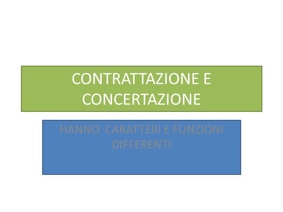 CONTRATTAZIONE E CONCERTAZIONE HANNO CARATTERI E FUNZIONI DIFFERENTI