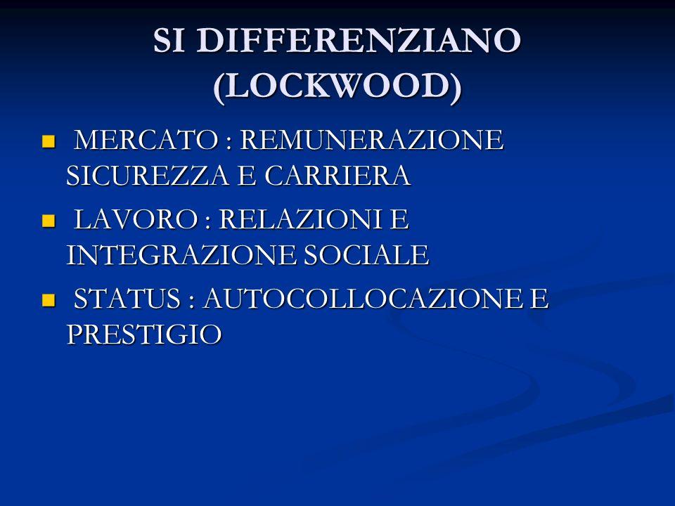 SI DIFFERENZIANO (LOCKWOOD) MERCATO : REMUNERAZIONE SICUREZZA E CARRIERA MERCATO : REMUNERAZIONE SICUREZZA E CARRIERA LAVORO : RELAZIONI E INTEGRAZIONE SOCIALE LAVORO : RELAZIONI E INTEGRAZIONE SOCIALE STATUS : AUTOCOLLOCAZIONE E PRESTIGIO STATUS : AUTOCOLLOCAZIONE E PRESTIGIO