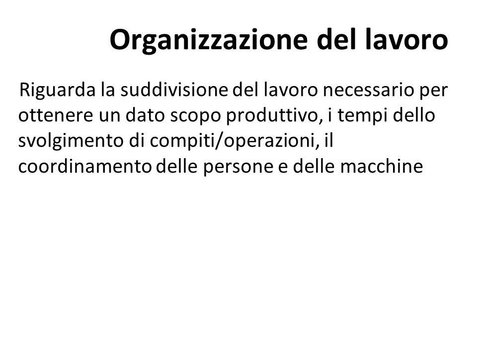 Riguarda la suddivisione del lavoro necessario per ottenere un dato scopo produttivo, i tempi dello svolgimento di compiti/operazioni, il coordinament