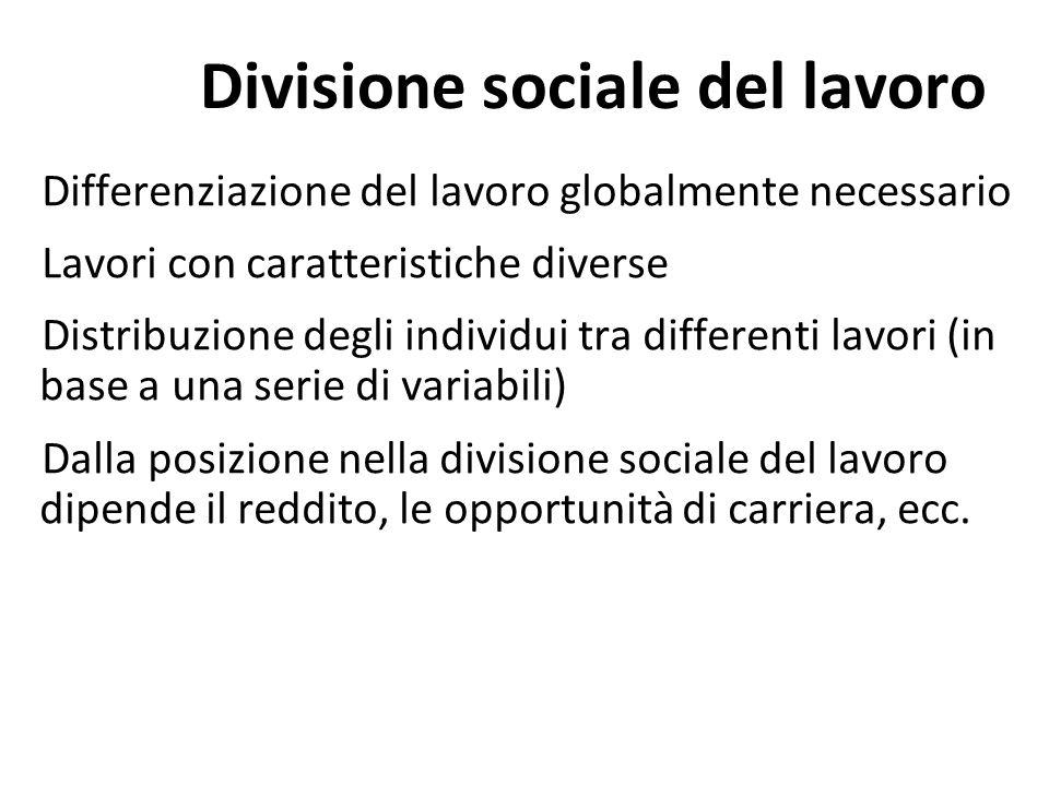 Differenziazione del lavoro globalmente necessario Lavori con caratteristiche diverse Distribuzione degli individui tra differenti lavori (in base a u