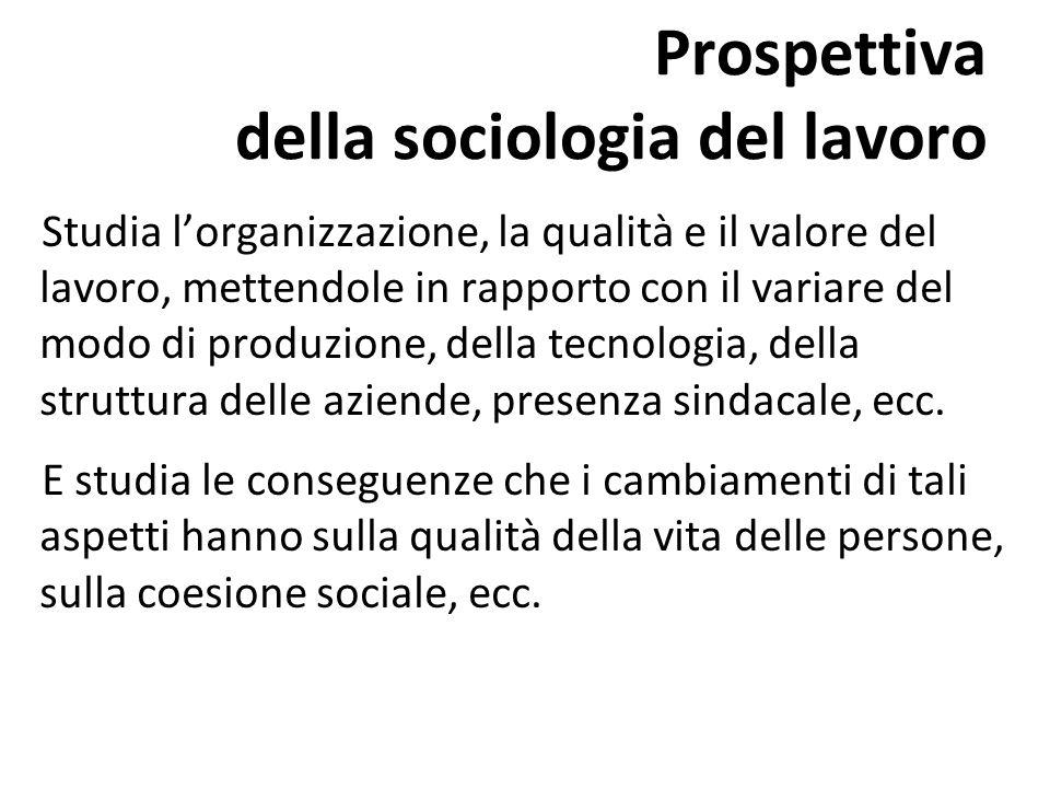 Prospettiva della sociologia del lavoro Studia lorganizzazione, la qualità e il valore del lavoro, mettendole in rapporto con il variare del modo di p
