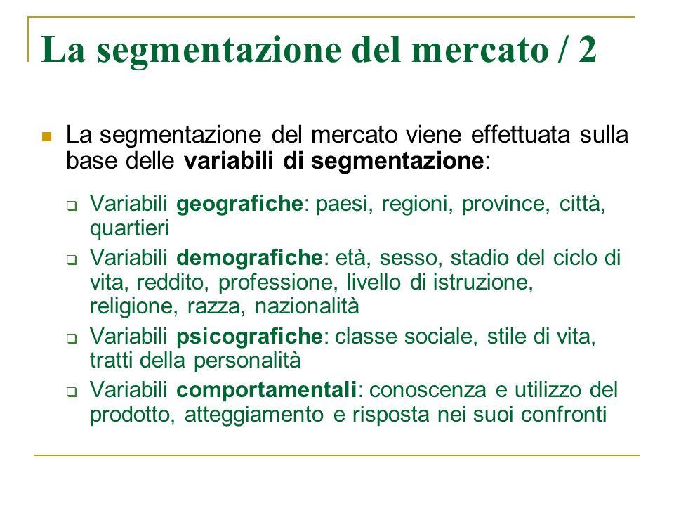 La segmentazione del mercato / 2 La segmentazione del mercato viene effettuata sulla base delle variabili di segmentazione: Variabili geografiche: pae
