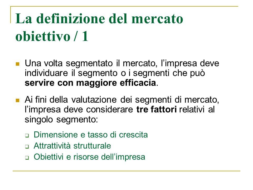 La definizione del mercato obiettivo / 2 Valutati i vari segmenti di mercato, limpresa deve stabilire quali e quanti servire, ossia deve selezionare i propri mercati obiettivo.