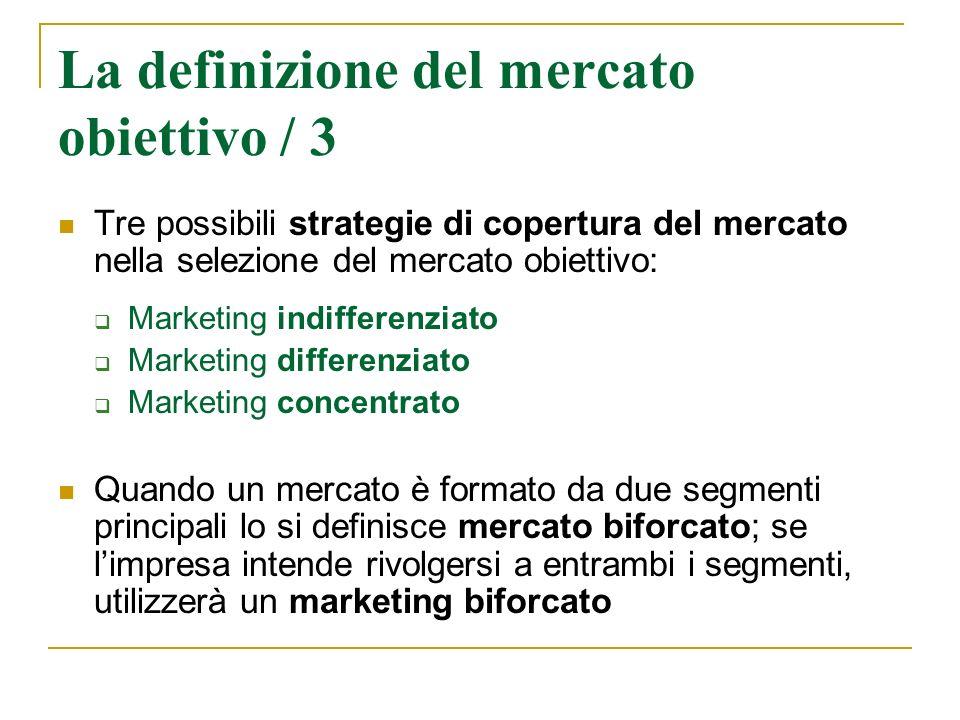 Tre possibili strategie di copertura del mercato nella selezione del mercato obiettivo: Marketing indifferenziato Marketing differenziato Marketing co