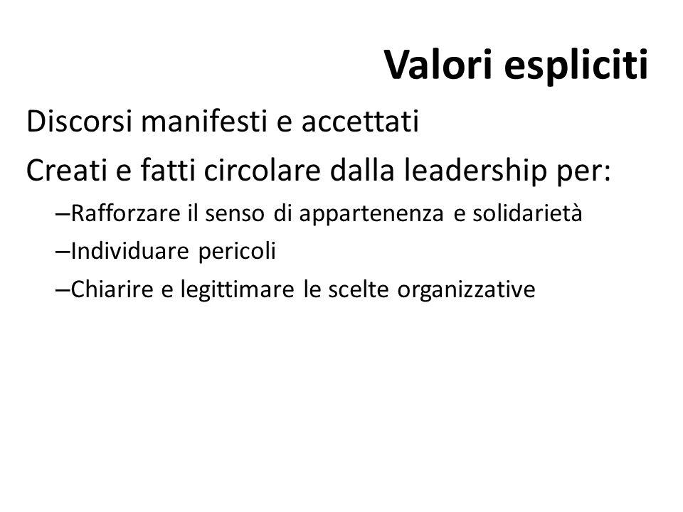 Valori espliciti Discorsi manifesti e accettati Creati e fatti circolare dalla leadership per: – Rafforzare il senso di appartenenza e solidarietà – I